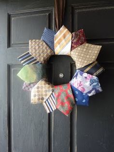 mish mash mom: Mishmash Necktie Wreath  this will be a cute idea for the leftovers from my men in my family necktie quilt!!! or at least my version of it! :)