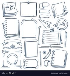 Bullet journal sketch elements notebook girly vector image on VectorStock Bullet Journal School, Bullet Journal Boxes, Bullet Journal Notebook, Bullet Journal Ideas Pages, Bullet Journal Inspiration, Book Journal, Bullet Journal Labels, Bullet Journal Vectors, Bullet Journal Graphics