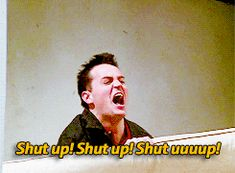 Calma, calma, calma! Eu amo o Chandler, é o meu favorito, mas é minha reação quando entra alguém que eu não gosto na cena (como a chefe da Rachel ou a Janice) Obrigado, Chandler Bing.