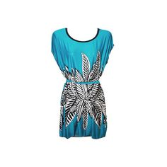 Women's J. Furmani Designer Collection Leaf Motif Tunic - Turquoise... ($29) ❤ liked on Polyvore featuring tops, tunics, turquoise, turquoise top, summer tunics, summer tops, blue tunic and blue top