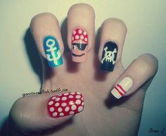 Nail Art: Pirata Pirado Por: A Garota Esmaltada (http://agarotaesmaltada.tumblr.com)