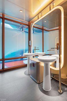 Brilliant Hues Set the Mood for Jouin Manku's Voyages by Alain Ducasse in Macau's Morpheus Hotel Bathroom Toilets, Bathrooms, Bathroom Stuff, Interior Garden, Interior Design, Composite Sinks, Alain Ducasse, Vanity Basin, Custom Carpet