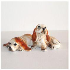 Vintage Basset Hound figurines by lizzylovesvintage on Etsy