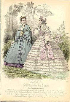 Fashion plate, 1861 France, Petit Courrier des Dames; spring dresses & wrap.