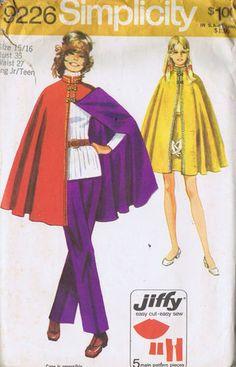 Vintage Cap Skirt Pants 70s Sewing Pattern Simplicity 9226 Size 15 Bust 35 Uncut   eBay