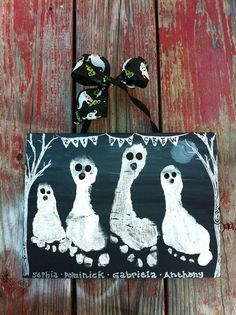 Halloween Footprint Handprint Kids Craft Ghostly