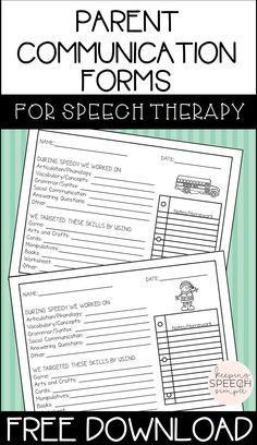 Are you looking for quick and effective ways to communicate with parents about what's happening in your speech room or during speech session? If so, click here for these print and go, easy to use forms. Just check the areas targeted or leave notes to provide more comprehensive information. A variety of seasonal forms are included.
