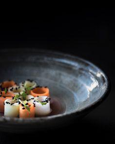 Carrot tartare, umeboshi, shiro shoyu, mizuna