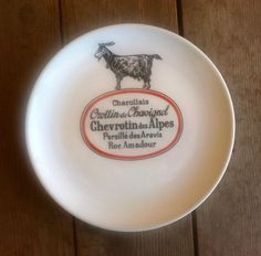 Porcelaine d Auteuil French Bistrot Goat Cheese Plate Chevrotin des Alpes  Etc. Decorative Plates, Commercial, Dishes, Kitchen, Gifts, Porcelain, Alps, Cooking, Presents