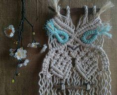 Macrame owl, modern macrame, wall hanging, drifted wood, boho style,  hanging tapestry