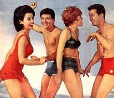 Frankie Avalon and Annette Funicello living it up on the beach