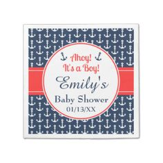 Nautical Baby Shower Paper Napkins Standard Cocktail Napkin