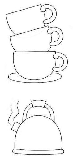 xícaras e chaleira