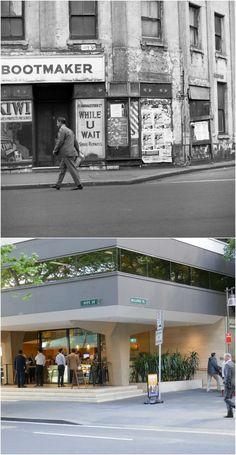 Corner Pitt St & Bulletin Place, Sydney 1967 > [State Library of Victoria > Kevin Sundgren. By Kevin Sundgren] Sydney City, Historical Photos, Old Photos, New Zealand, Wwii, Sailing, Corner, Victoria, Australia