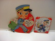 2+Vintage+VALENTINES+w/Cute+Uniformed+POSTMAN/MAILMAN+Delivering+Valentines-LOT+