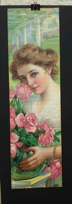 ORIGINAL 1909 PABSTMALT EXPTRACT YARDLONG PRINT - BEAUTIFUL LADY WITH ROSES #Realism