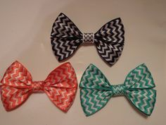 Chevron Hair Bows by bowsandmorestuff on Etsy
