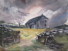 How to paint watercolour landscapes with the large hake brush - YouTube