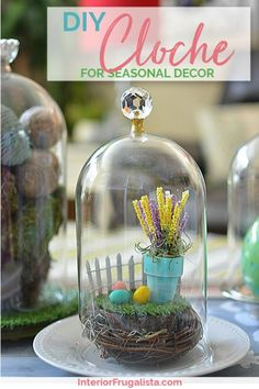 How to make DIY Glass Cloches in two easy steps with repurposed glass furniture knobs for budget-friendly DIY home decor. These glass domes can be used year-round for seasonal decorating under glass. Step-by-step instructions at Interior Frugalista #glassclochediy #clochediyglassdomes #homemadecloche #diyhomedecor #farmhousedecor