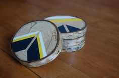 Hand Painted Wooden Birch Coasters Navy Yellow by twigandspark