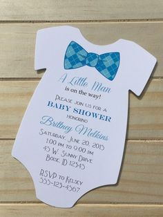 Baby shower onesie invitation blue shower invitation baby boy boy baby shower invitations bow tie design all wording customized rsvpcustomcreations babyshower filmwisefo Choice Image
