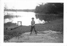 Black and White Vintage Snapshot Photograph Boy Hat Lake Shore Dock 1960'S | eBay