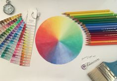 TUTORIAL #12: How to draw a colour wheel with 16 Polychromos pencils