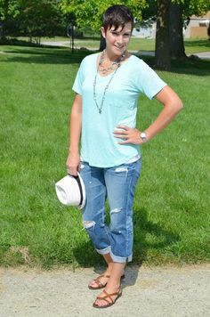 What I Wore Real Mom Style: Perfectly Imperfect Shabby Tee from Conversation Pieces with distressed boyfriend jeans, brown sandals and white straw fedora