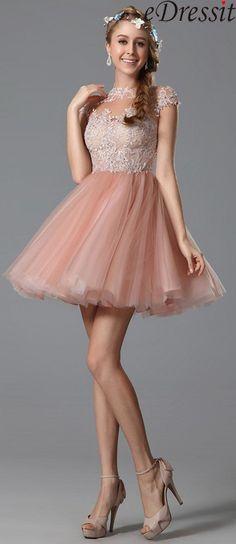 eDressit Lace Applique Pink Cocktail Dress