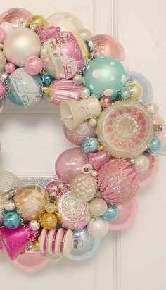 Pastel Christmas Wreath with vintage ornaments! Love this Wreath and the vintage ornaments! Noel Christmas, Vintage Christmas Ornaments, Pink Christmas, Christmas Colors, Beautiful Christmas, Winter Christmas, Christmas Wreaths, Christmas Crafts, Christmas Decorations