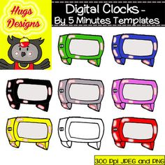 305 DIGITAL COLORED CLOCKS CLIPARTS SET FOR PERSONAL AND COMMERCIAL USE - TeachersPayTeachers.com