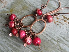 Magenta Impression Stone and Copper Earrings by valleybeadglassart, $18.00