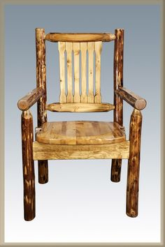 Glacier country rustic captain's chair  Amish craftsmanship Heirloom quality