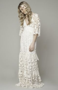 Roses French Lace Maxi Gown by Kite and Butterfly