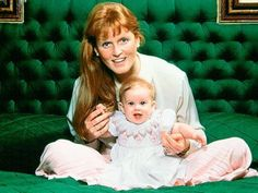 Sarah, Duchess of York, with her daugther Princess Beatrice, 1988.