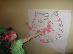 cute pink felt noses - pin them on a giant jigsaw kitty