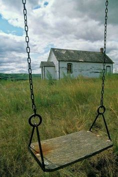 Old barn and swing. This is not a barn, it's a one room school house - hence, the swing! Country School, Country Life, Country Living, Old Buildings, Abandoned Buildings, Abandoned Places, Old School House, Country Barns, Country Roads