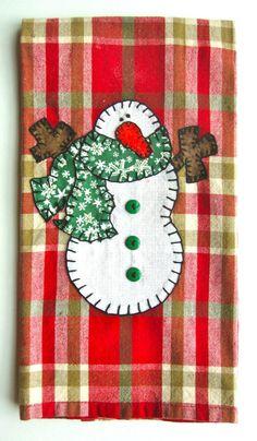Snowman Applique Kitchen Towel, Dish Towel, Hand Towel, Tea Towel