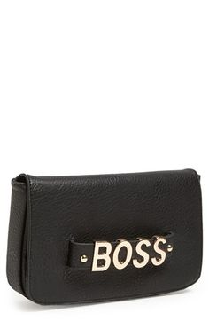 $55, Black Leather Clutch: Street Level Faux Leather Clutch Black Boss. Sold by Nordstrom. Click for more info: http://lookastic.com/women/shop_items/139174/redirect