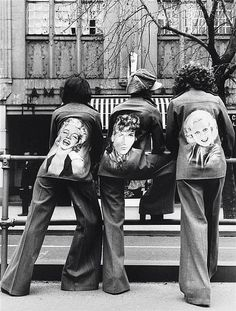 Bruno Benini Models Wearing Fiorucci Hand Painted Denim Jackets and Flared Jeans, Collins Street Melbourne 1973