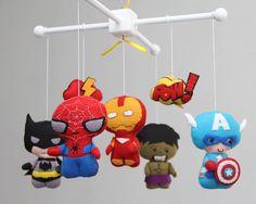 Bebé móvil - bebé cuna móvil - Super héroe móvil - vivero Super móvil de héroes-Spider-Man, Batman, Capitán América, Iron man, Hulk