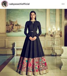 Black georgette indo western gown with floral colourful thread embroidery designer black Indian dress evening wear with embroidered border Indian Designer Outfits, Designer Gowns, Style Marocain, Party Kleidung, Anarkali Gown, Sabyasachi Suits, Lehenga Choli, Sari, Indian Lehenga