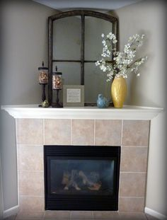 Stunning Fireplace Tile Ideas for your Home corner fireplace ideas (fireplace ideas) Tags: corner fireplace DIY, corner fireplace furniture arrangement, corner fireplace decorating, corner fireplace makeover fireplace ideas with tv Corner Mantle Decor, Corner Fireplace Mantels, Fireplace Redo, Fireplace Ideas, Fireplace Modern, Corner Fireplace Decorating, Fireplace Design, How To Decorate Fireplace, Mantle Decorating