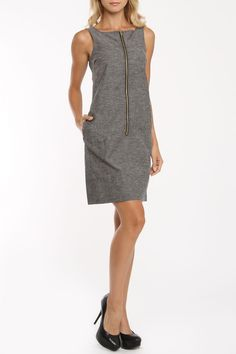 Amelia Jessica Dress In Gray - simple but perfect linen sheath