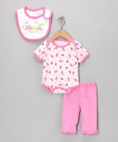 Take a look at this Pink 'Snuggle Bug' Bodysuit Set by Mon Cheri Baby on #zulily today!