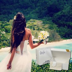 Destination Wedding TIP: When picking out a dress remember the average high temperature for some destinations can be degrees. Heavy dresses to lug around in the sand while the sun beats on you won't make for picture perfect memories! Wedding Boxes, Wedding Tips, Wedding Stuff, Wedding Dress Preservation, Heavy Dresses, Travel Box, Cutest Thing Ever, Dress Backs, Take That