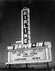 "vintagenola: New Orleans Drive In Theater Marquee on Airline Highway. The Movie showing at the drive in theater ""On The Town"" premiered in Cartoon News, Drive In Movie Theater, Starlite Drive In Theatre, Theater Days, New Orleans History, Outdoor Theater, Outdoor Cinema, Nostalgic Images, New Orleans Louisiana"