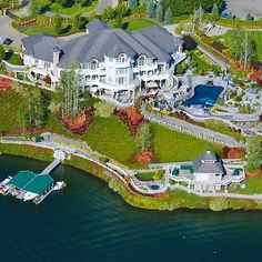 Lakefront mega mansion #MegaHomes