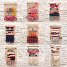 February's weaving course has finished tonight. Look at all these pretty wallhangings. Topjob! #hetateliervanevav #workshop #wandtapijt #tapestryweaving #weaversofinstagram #wallhanging #weavingcourse #handweaving #weven
