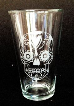Sugar Skull Dia de Los Muertos Etched Pint by IlluminatedLion, $15.00